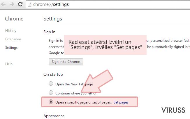 Kad esat atvērsi izvēlni un 'Settings', izvēlies 'Set pages'