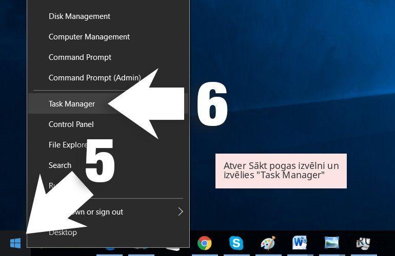Atver Sākt pogas izvēlni un izvēlies 'Task Manager'