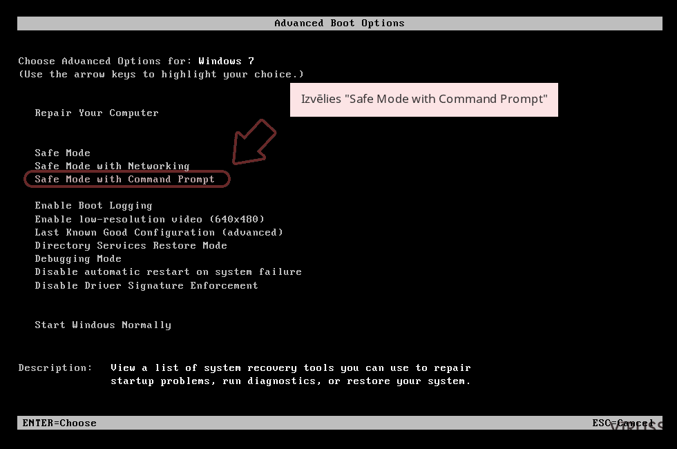 Izvēlies 'Safe Mode with Command Prompt'