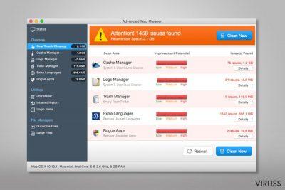 Ekrānšāviņš ar Advanced Mac Cleaner