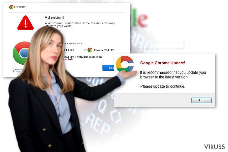 Chrome pāradresācijas vīrusa piemērs
