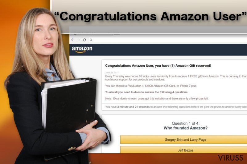 "Attēls are ""Congratulations Amazon User"" reklāmprogrammatūras vīrusu"
