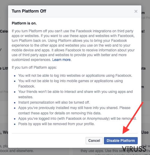 Facebook vīruss momentuzņēmums