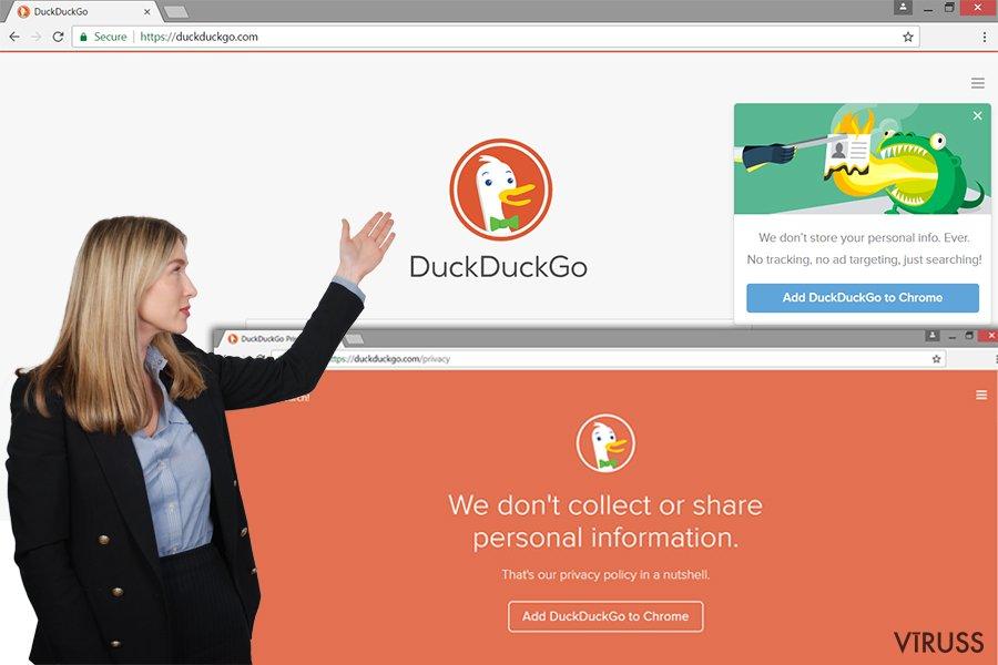 DuckDuckGo reklāmprogrammatūras vietne