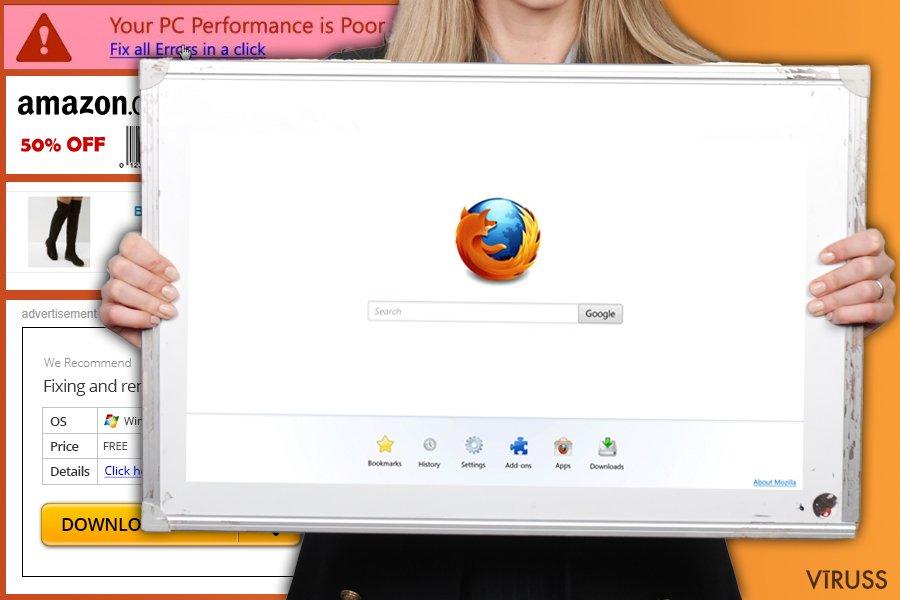 Attēls ar Firefox redirect vīruss
