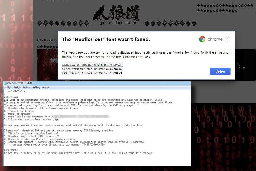 GandCrab izplatās ar viltus Hoefler teksta fontu atjauninājumu palīdzību