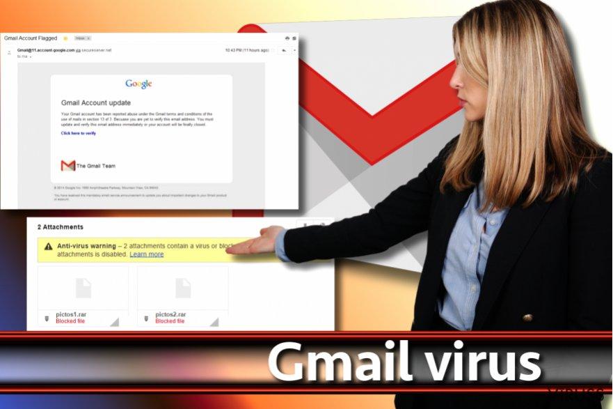 Gmail vīrusa ekrānšāviņš