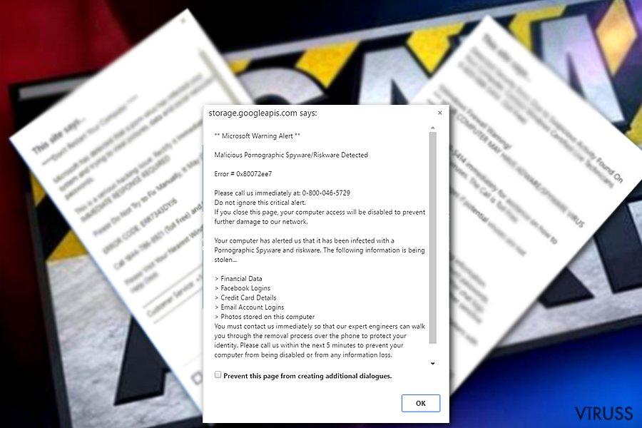 """Attēls ar """"Microsoft Warning Alert"""" vīrusu"""