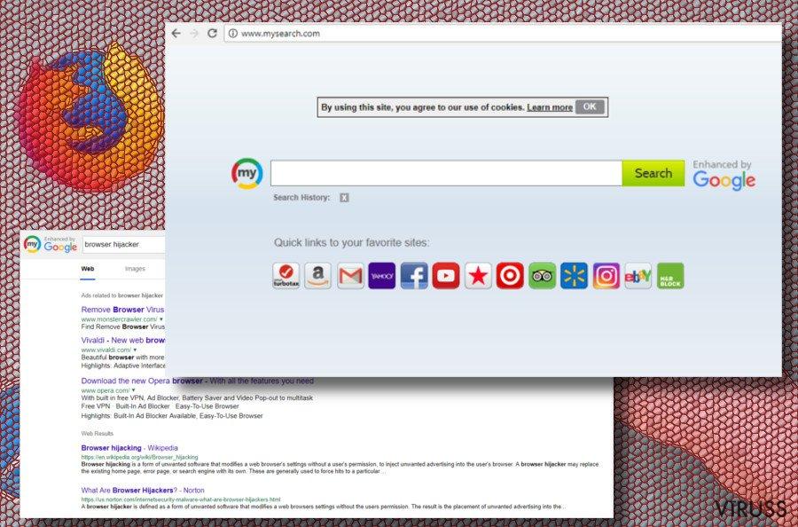 Mysearch browser hijacker printscreen
