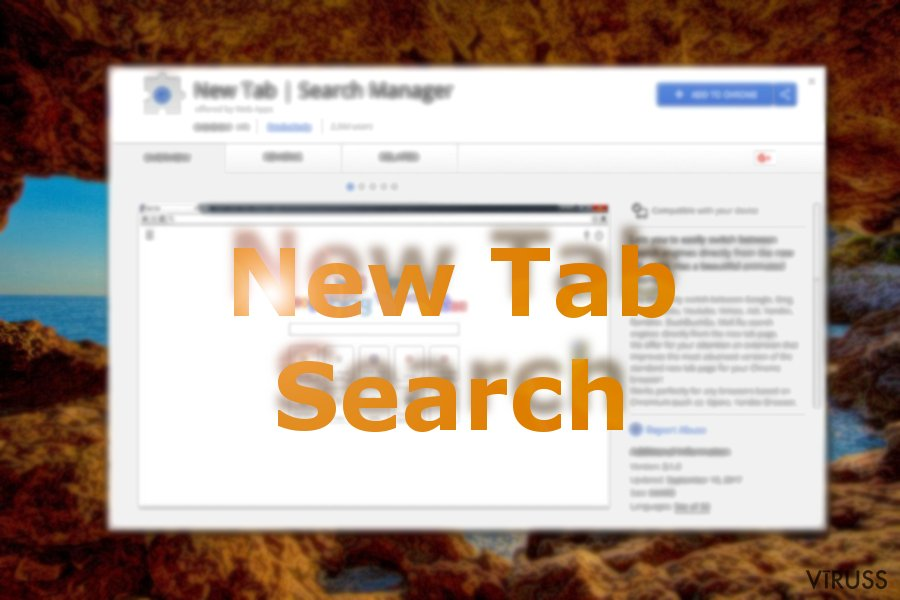 Attēls, kurā Chrome tiešsaistes vaikalā ir redzams New Tab Search