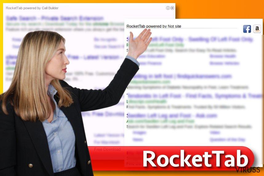 RocketTab vīruss meklētāja rezultātos
