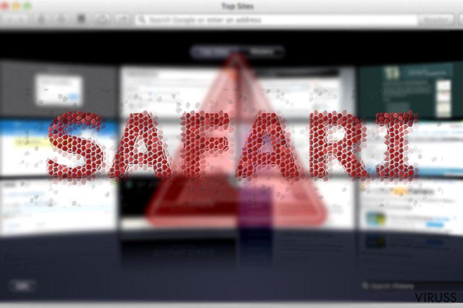 Attēls ar Safari pāradresācijas vīrusu