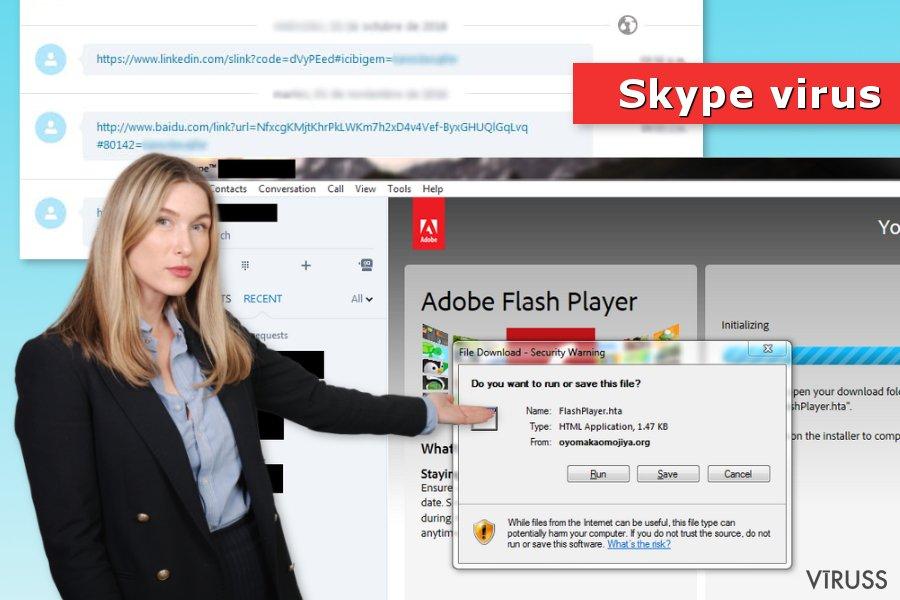 Attēls ar Skype vīrusu