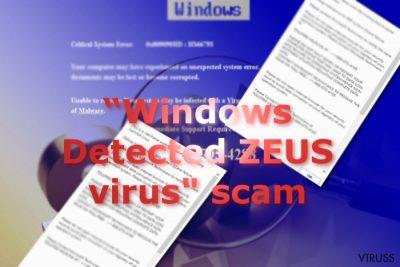Attēls ar Windows Detected ZEUS krāpniecīgajām ziņām